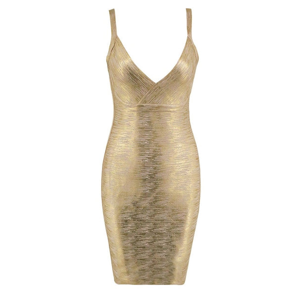 Sleeveless V - Neck Bandage Dress