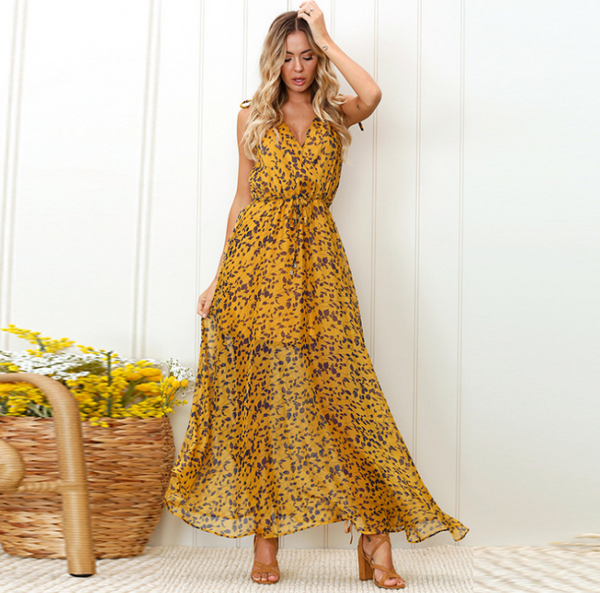 Women Print Maxi Dress Ladies Sexy Backless Spaghetti Strap Deep V-Neck Lace Up Empire Dresses