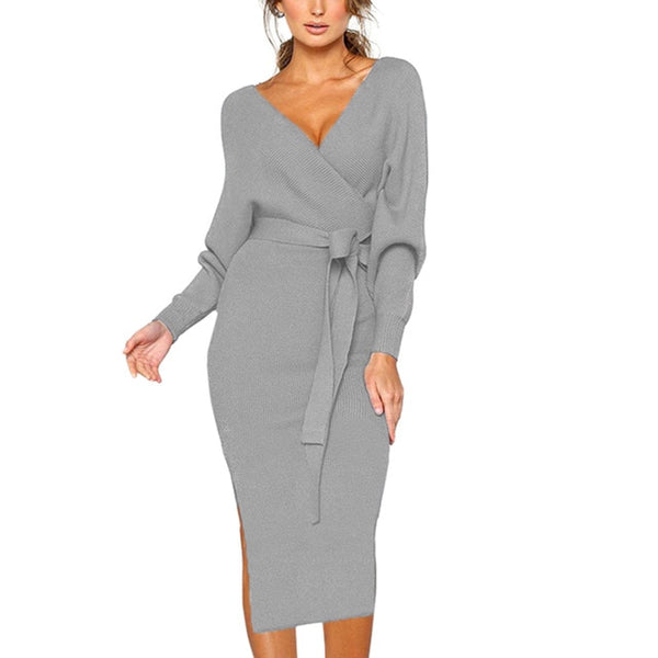 Knitted  Backless Long-sleeved Dress