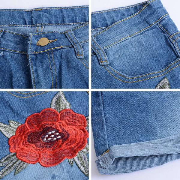 High Waist Vintage Floral Embroidery Denim Jean Shorts