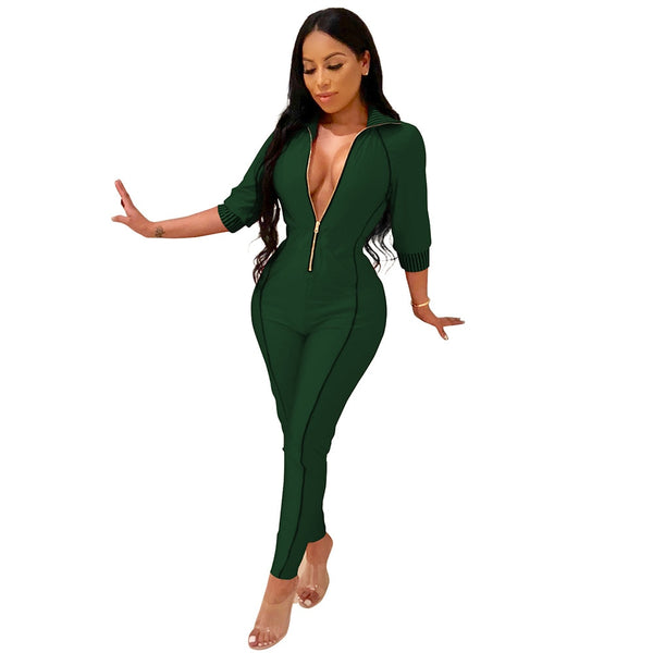 Front V Neck Body-con Half Sleeve Jumpsuit