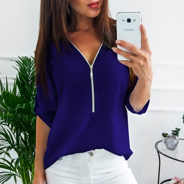 Short Sleeve Sexy V Neck Solid Top Blouses