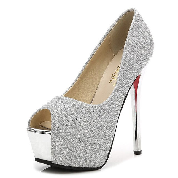 Women Stiletto Peep Toe Pumps
