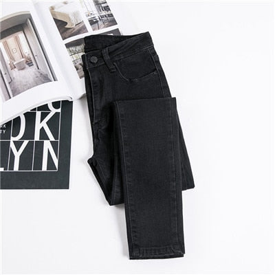 Denim Pants Black Color Jeans Donna Stretch Bottoms Skinny Pants
