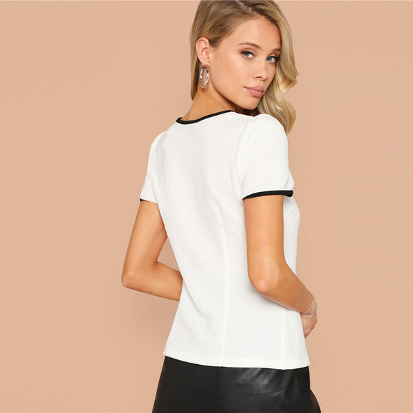 Short Sleeve Tipping Neck Bow Tie Blouse