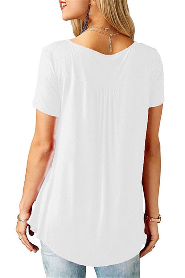 Summer V-Neck Short Sleeve Loose Sexy T-Shirts