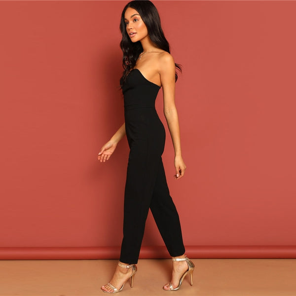 Black Sleeveless Zip Back Sweetheart Neck Tube Jumpsuit