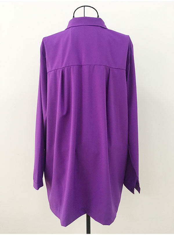 Irregular Long Sleeve Blouse Top
