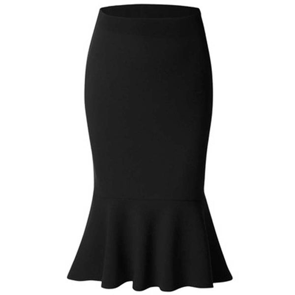 Solid Color Knee Length Trumpet Skirts