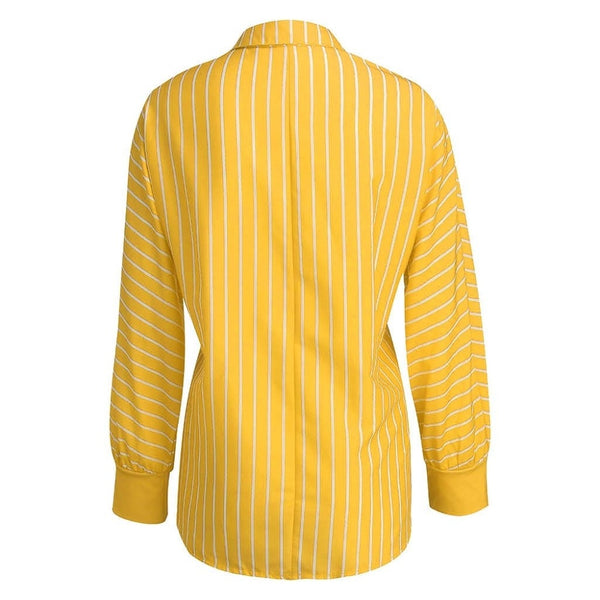 Loose Casual Striped Long Sleeve Button Top