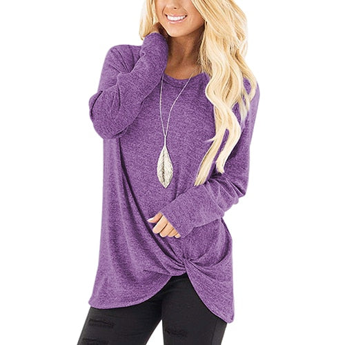 Long Sleeve Casual O-Neck Slim Tops