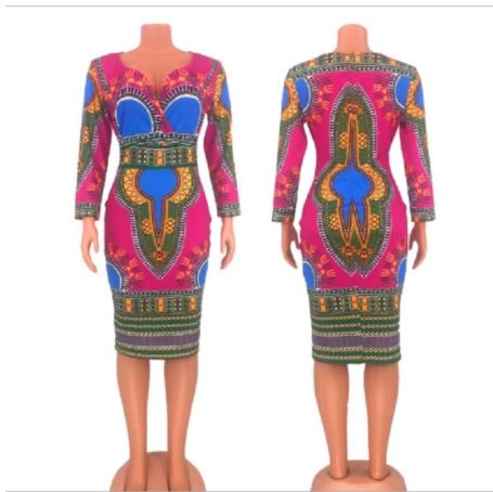 Deep V- Neck African Traditional Print Dress