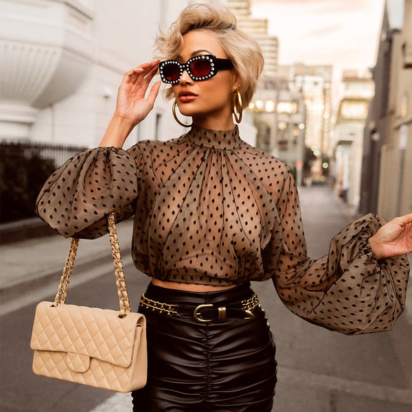 Polka Dot Mesh Crop Top Long Sleeve Shirt Blouse