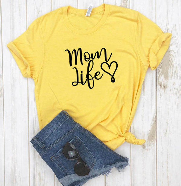 Mom Life Heart Letters Print T-Shirt
