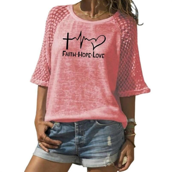 New Faith Hope Love Letters Print T-Shirt