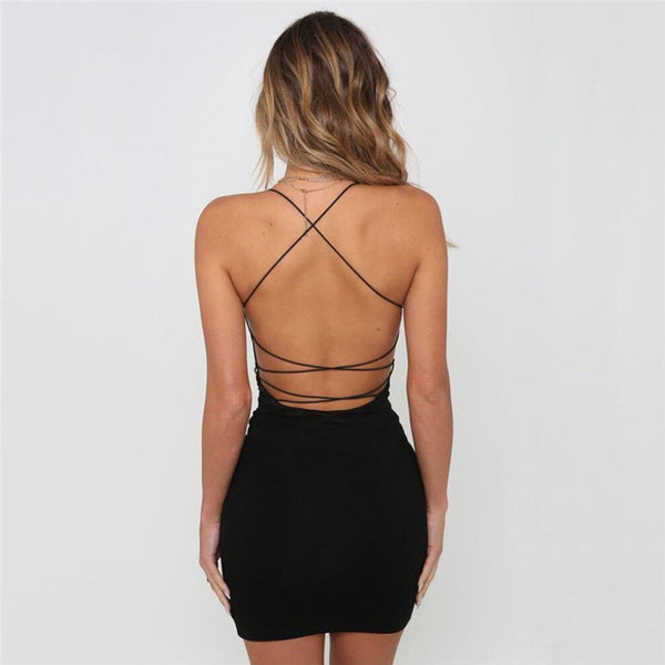 Sexy Backless Spaghetti Straps Nightclub Neck Mini Dress
