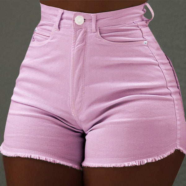 High Waist Tassel Denim Jean Shorts