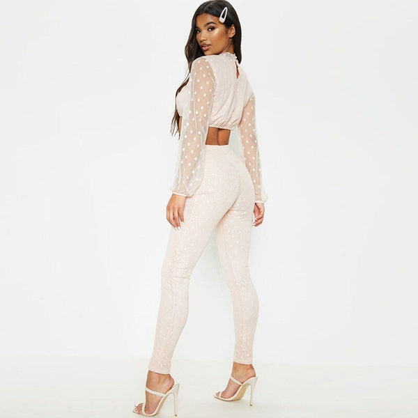 Sexy High Waist Mesh 2 PC Crop Top Polka Dot Outfit