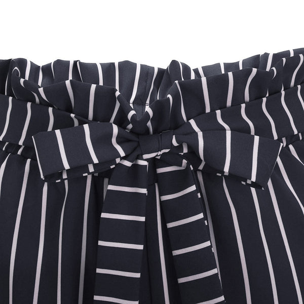High Waist Stripe Bandage Shorts