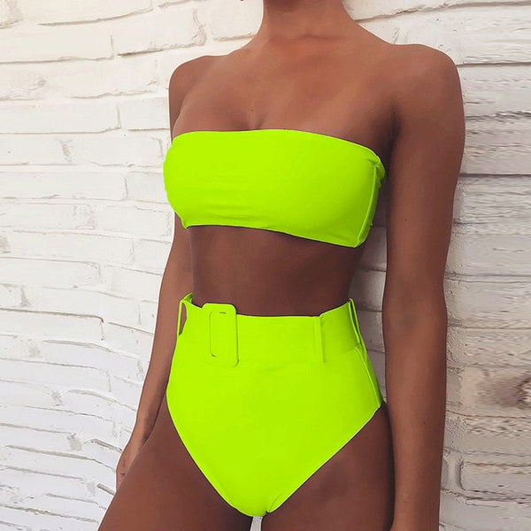 Buckle High Waist Two Piece Bikini Set