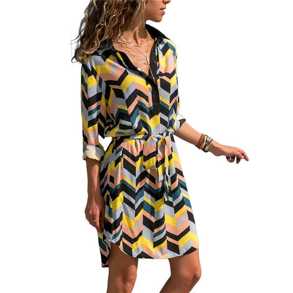 Long Sleeve Casual Striped Print A-line Mini Dresses