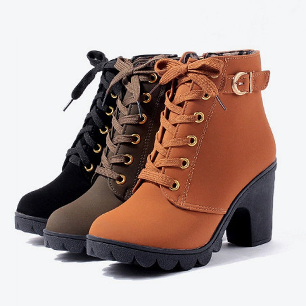 Women Platform High Heels Thick Heel Ankle Boot