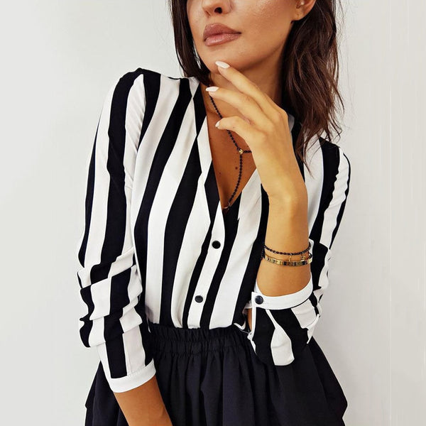 V-Neck Button Loose Striped Blouse
