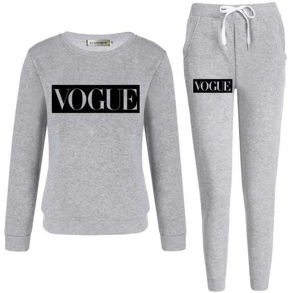 VOGUE Fleece Sweatshirt + Long Pants 2 Piece Set