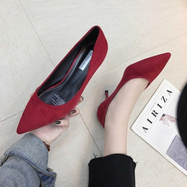 Women  Suede Pointed Toe Pumps
