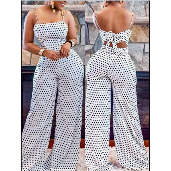 Polka Dot Spaghetti Strap Sleeveless Jumpsuit