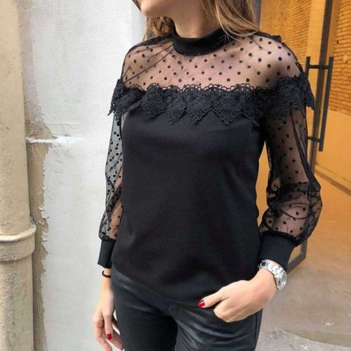 Black Lace Mesh Breathing Long Sleeve Blouse
