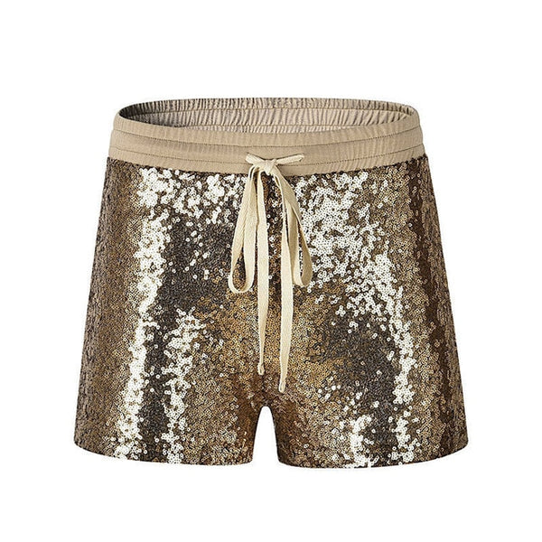 Gold Elastic High Waist Sequins Shorts