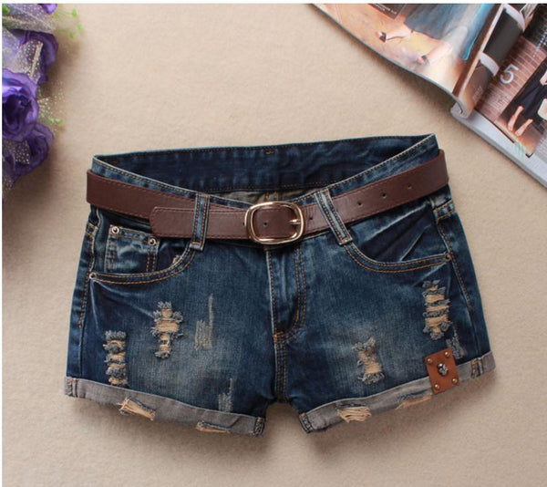 Low Waist Ripped Jeans Shorts Without Belt