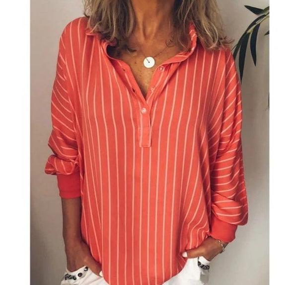 Striped Print Oversize V-Neck Blouse Top