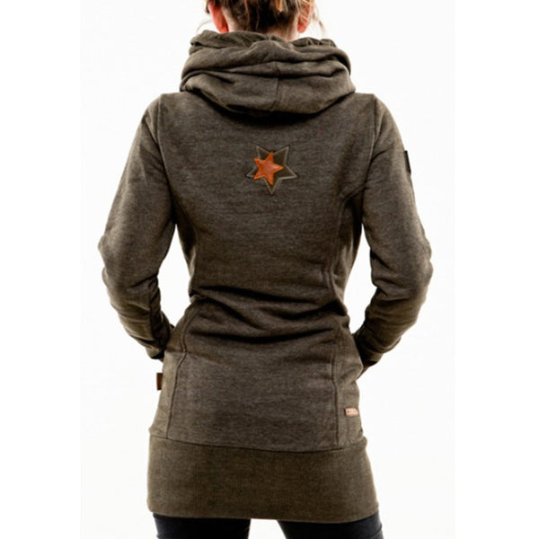 Warm Tunic Embroidered Star Long Hoodie Sweatshirt
