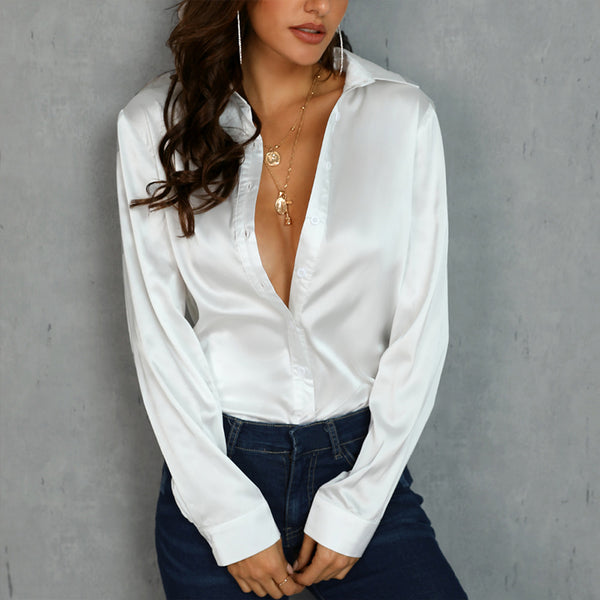 White Long Sleeve Silk Turn Down Collar V- Neck Blouse