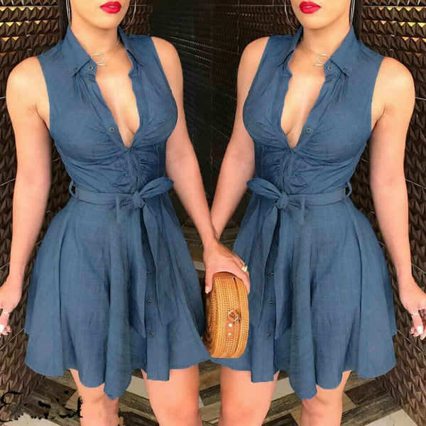Sleeveless V-Neck Half Button Down Denim Mini Dress