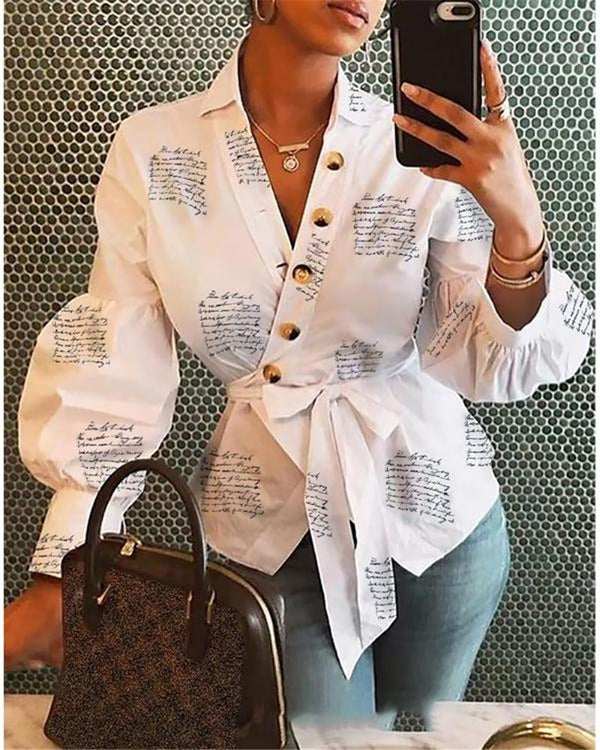White Long Sleeve Casual V Neck Cursive Print Bandage Blouse
