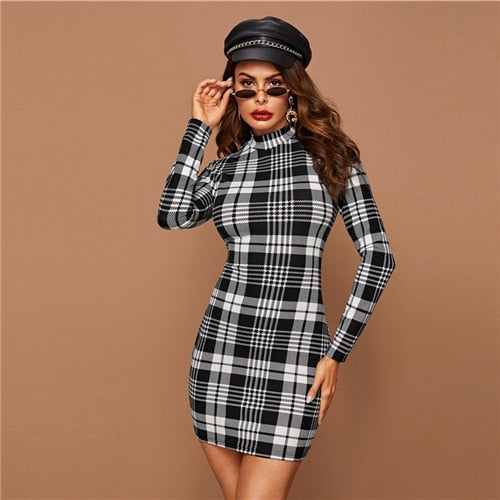 Long Sleeve Black And White Plaid Stand Collar