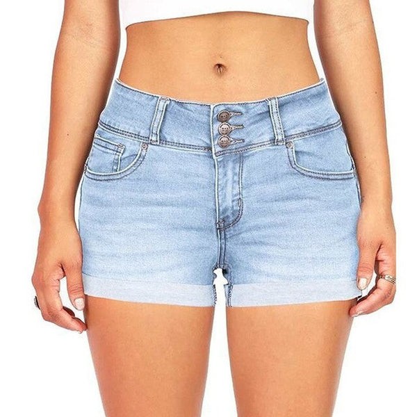 High-Waist Zipper Denim Shorts
