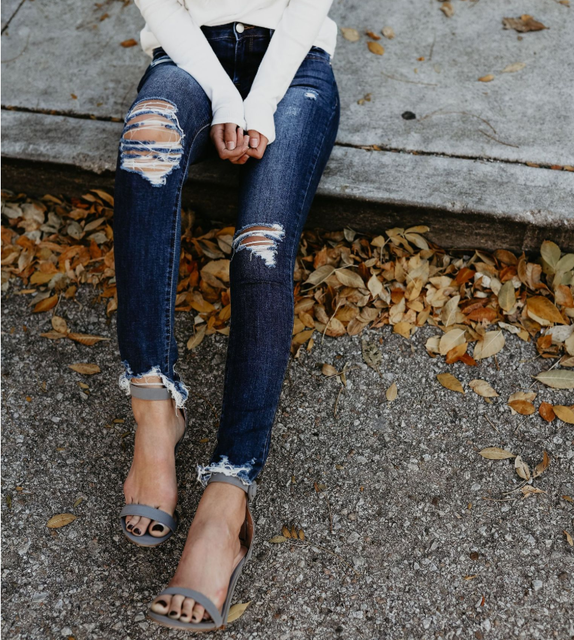 Vintage Ripped Distressed Pencil Jeans