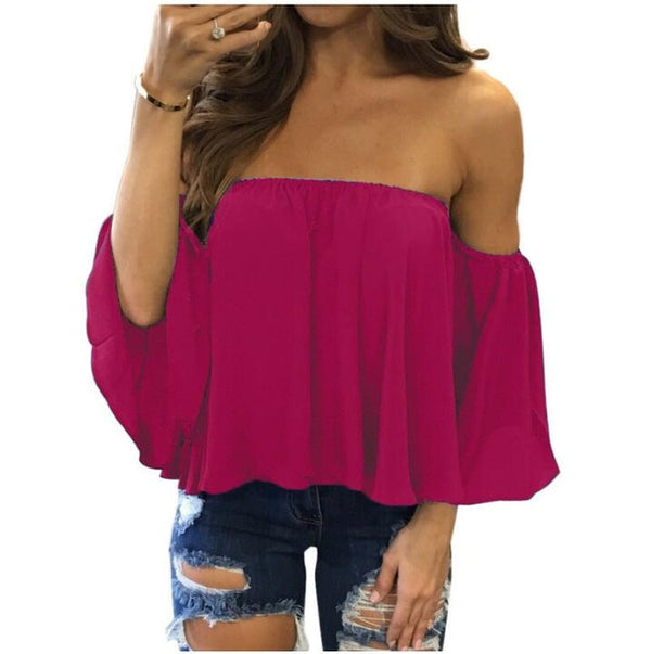 Women Off Shoulder Strapless Short Sleeve Top