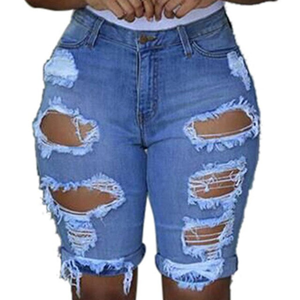 Ripped Hole Elastic Destroyed Knee Length Jeans