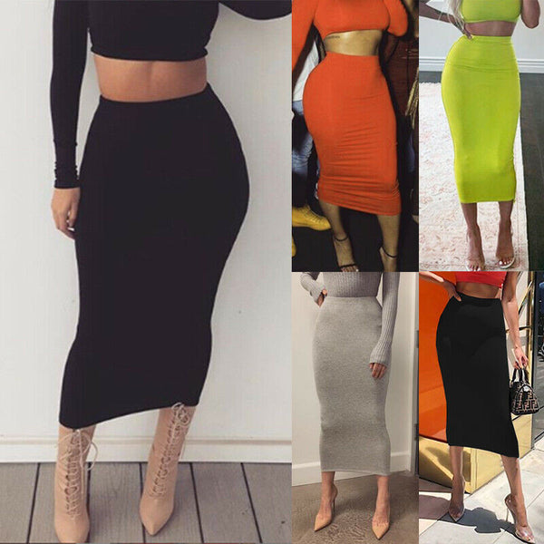 Midi Pencil High Waist Stretch Skirt