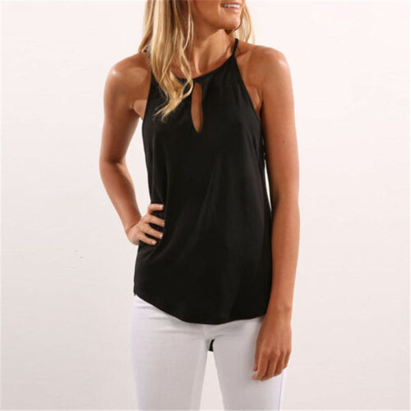 Sleeveless Casual Office O Neck Shirt