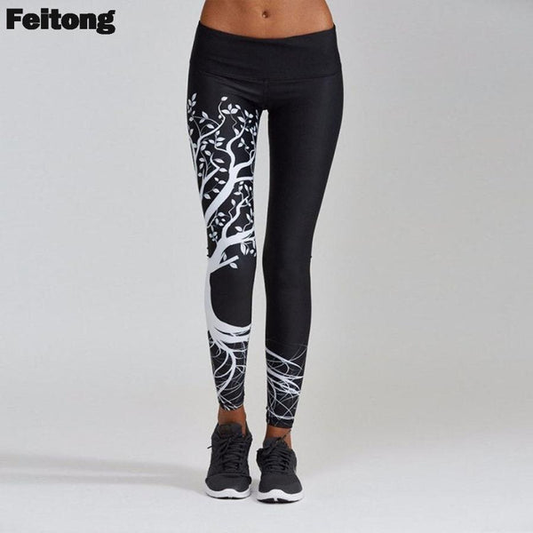 Elastic Waist Push Up Tree Printed Black White Fitness workout Leggings