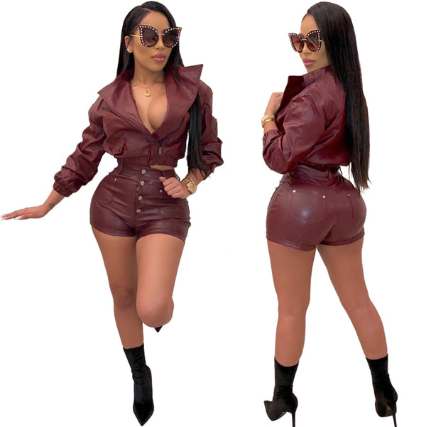Women PU Leather Two Pieces Set