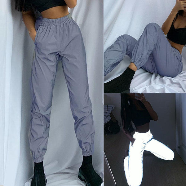 High Waist Baggy Reflective Ankle Tie Pants