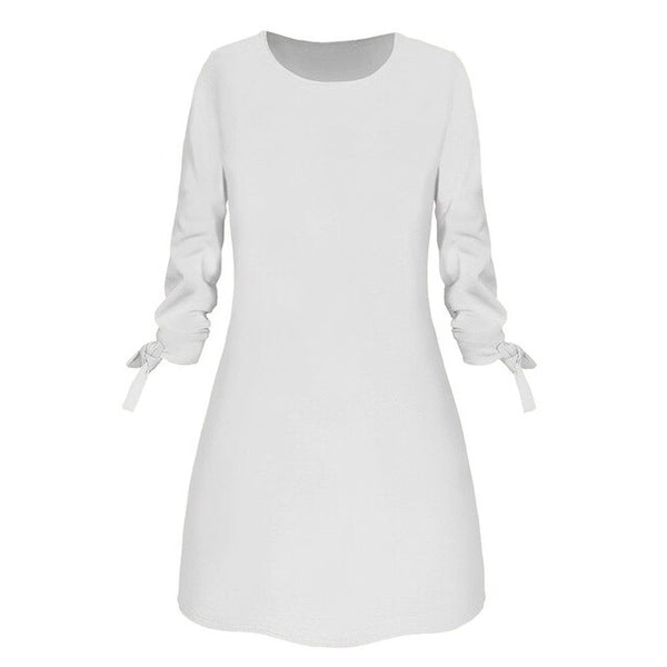 Casual Three Quarter Bow Elegant Dress (Plus Size Available)