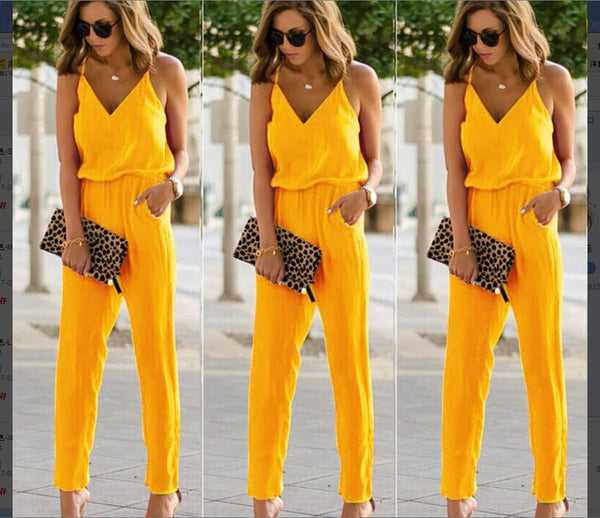 Womens Solid V- Neck Spaghetti Strap Bodycon Romper Jumpsuit